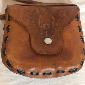 """VINTAGE"" Handmade Floral Leather Crossbody Bag ."
